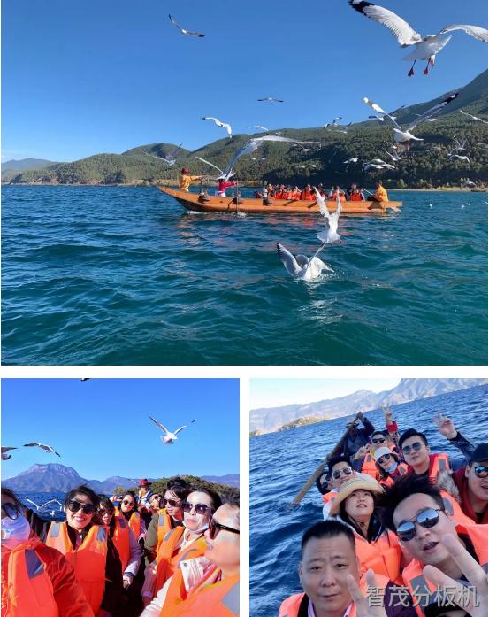 智茂pcba分板機廠家全員在瀘沽湖乘坐豬槽船